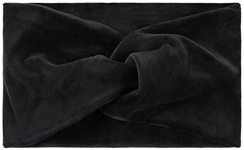 styleBREAKER Damen Stirnband in Samt Optik mit Twist Knoten, warmes Haarband, Headband, Haarschmuck 04026040, Farbe:Schwarz