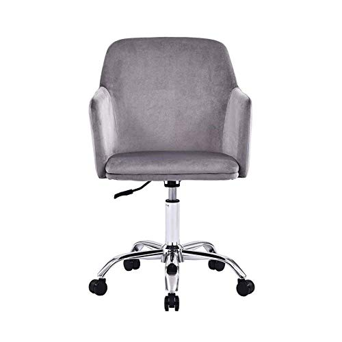 N/Z Daily Equipment Beauty Chair Barber Chair Velvet Office Chair Comfortable Ergonomic Desk Chair Swivel Computer Chair with Arms Low Back Seat for Home Office (Color : Black)