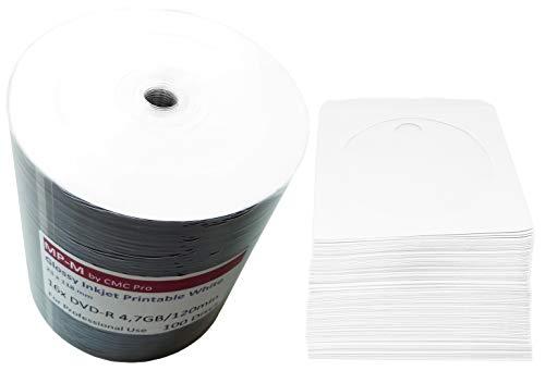 100 Glossy Bedruckbare DVD Rohlinge MP-Pro (CMC) DVD-R 4,7GB 16x Wide Inkjet printable weiß, vollflächig bedruckbar für Tintenstrahldrucker + GRATIS 100 CD Papierhüllen mit Folienfenster