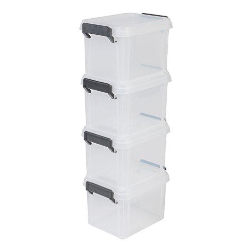 Iris Ohyama, lote 4 cajas apilables de almacenamiento con tapa - Multi Box - MBX-2, plástico, transparente, 2 L, 22,4 x 17 x 14,5 cm