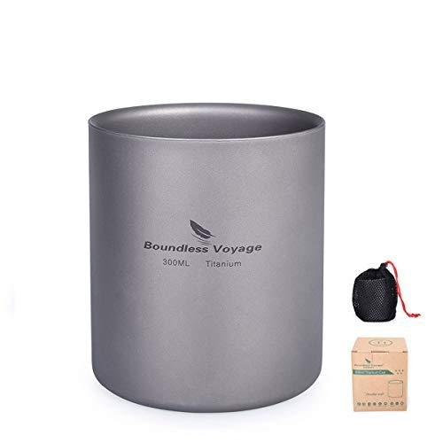 iBasingo 3 in 1 Doppelwandige Titanbecher Mini Isolierte Outdoor Camping Tasse Faltbare Kaffee-Teetassen Leichtes Langlebiges Geschirr für Täglich Gebrauchtes Wandern Backpacking 300 ml Ti15154I