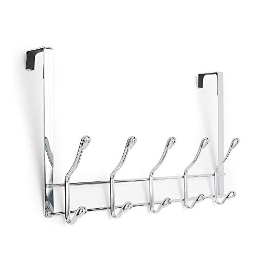 simplywire - Over Door Coat Rack - 10 Hooks - Chrome