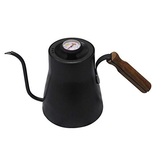 Bouilloire Drip 850ML Café Théière En Acier Inoxydable Téflon Café Drip Bouilloire avec Thermomètre Créatif avec manche en bois, B