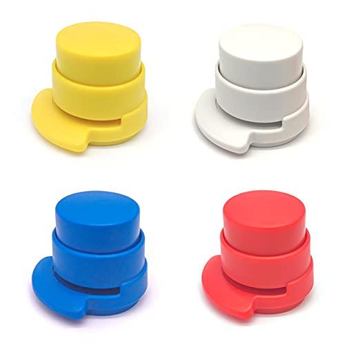 INHEMING 4 Stück Klammerloses Heftgerät Mini, Ohne Klammern, Tragbarer, Kunststoff Nadelloser Hefter
