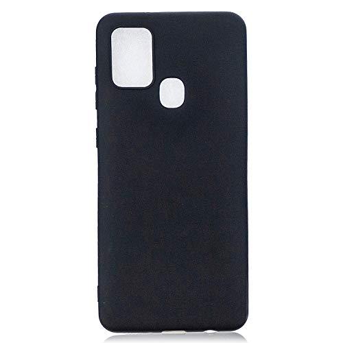 PuYu Zhe Funda Compatible con Samsung Galaxy A21S, Carcasa Silicona Suave Gel Rasguño y práctico Teléfono Móvil Cover Negro