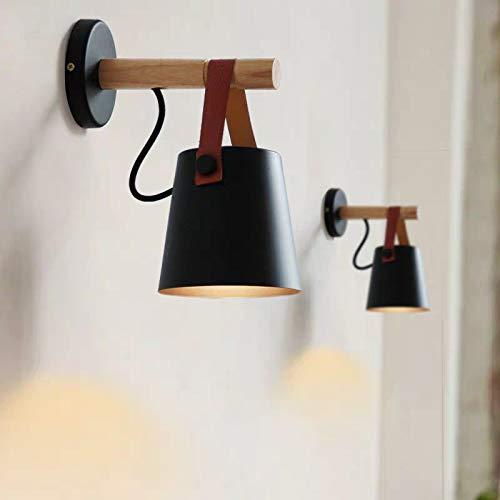 2 Pcs Apliques de Pared, Bañadores Lámpara de Pared, Madera Interior Iluminación de Pared Moderna para Hogar Decoración Sala de Estar Dormitorio Estudio de Cabecera Porche Pasillo (Negro)