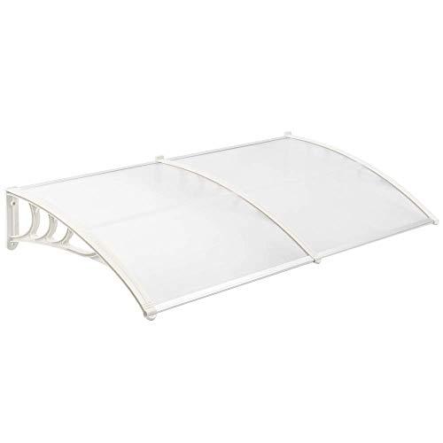 PrimeMatik - Beschermend dak 200x80 cm transparant. Partytent voor deuren en ramen met witte steun