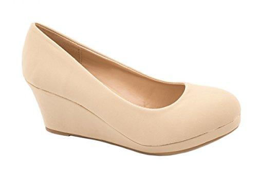 Elara Damen Pumps Keilabsatz Schuhe mit Plateau Chunkyrayan B8011Y-PM-Beige-42