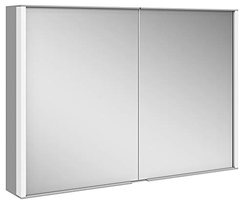 Keuco Spiegel-Schrank mit Variabler LED-Beleuchtung dimmbar, Badezimmer-Spiegelschrank, mit Aluminium-Korpus, mit 2 Türen, 100x70x16 cm Royal Match