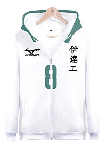 Sudadera con capucha unisex con impresin 3D diseo de anime y fecha tecnolgica para el colegio Datekougyou de la escuela secundaria Tarou Onagawa NO.8 disfraz de cosplay para XL(pecho 116cm)