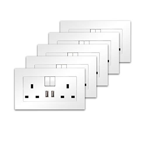CNBINGO - Juego de 5 enchufes de doble conmutación con 2 puertos de carga USB, enchufe de corriente eléctrica de 2 bandas de 13 A, toma de pared de placa de PC blanca