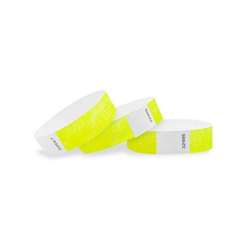 Wristco giallo fluo 3/10,2cm Tyvek Wristbands 500 Count Giallo acceso