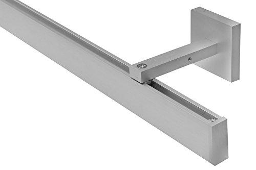dekoline rechteckige Gardinenstange Innenlauf alu-Silber Wandbefestigung, 1-Lauf-alu-Silber-0,60 m
