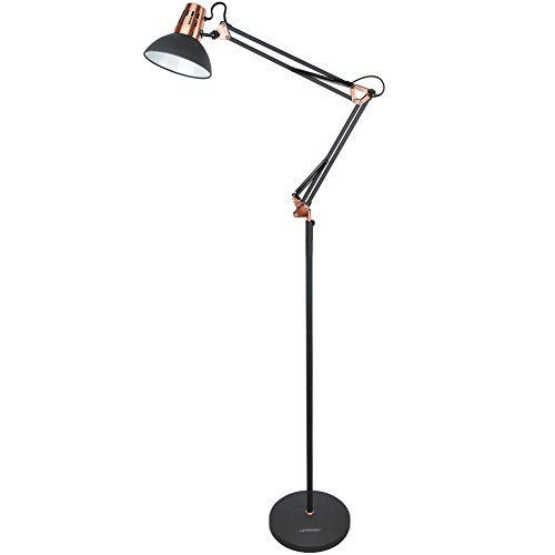 LEPOWER Metal Floor Lamp, Architect Swing Arm Standing Lamp with Heavy Duty Metal Base, Adjustable Head Reading Light with On/Off Switch for Living Room, Bedroom, Study Room and Office (Sand Black)