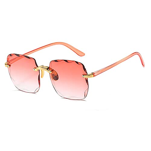 Gafas De Sol Gafas De Sol Cuadradas Sin Montura para Mujer, Gafas De Sol Graduadas A La Moda para Hombre, Gafas De Gran Tamaño, Sombra Uv400 Dorado-Rojo Vino