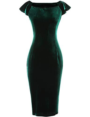 GownTown Women#039s Velvet Retro 1950s Style Sleeveless Slim Party Pencil Dress Dark Green