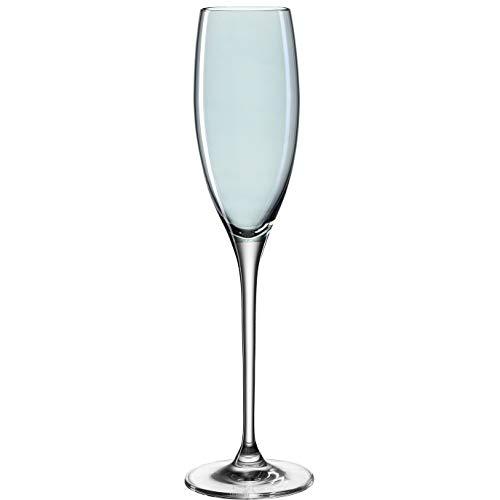 Leonardo Lucente Sekt-Gläser, Sekt-Kelch mit gezogenem Stiel, Sekt-Kelche in Blau, 6er Set, 220 ml, 061772