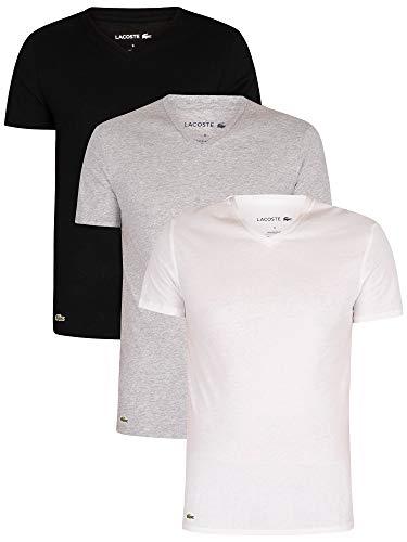 Lacoste Herren TH3374 Unterhemd, Männer 3er-Set,Unterwäsche,T-Shirt,V-Ausschnitt,Kurzarm,Basic,Uni,Regular Fit,Weiß,L