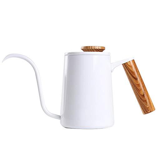 600ml Coffee Pot Teapot Drip Coffee Pot Fashion Stainless Steel Handle Drip Coffee Pot Long Gooseneck Spout Kettle (Color : White)
