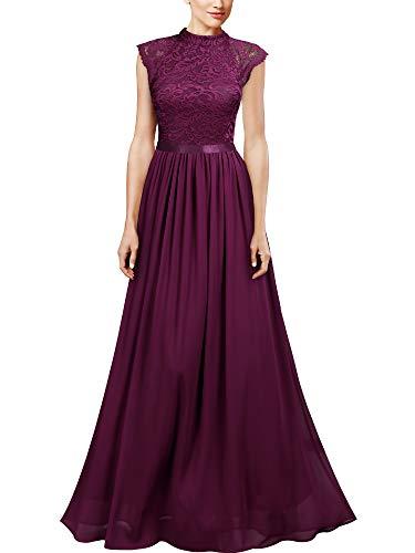 Miusol Vintage Encaje Gasa A-Line Noche Boda Vestido Largo para Mujer Magenta M