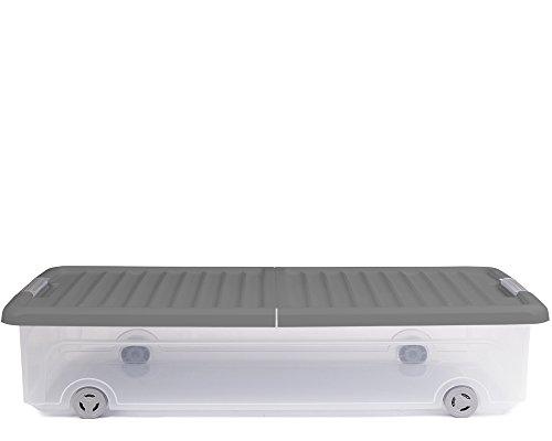 Ondis24 Unterbettbox Rollerbox Aufbewahrungsbox 35 W (1 Stück, Grau)