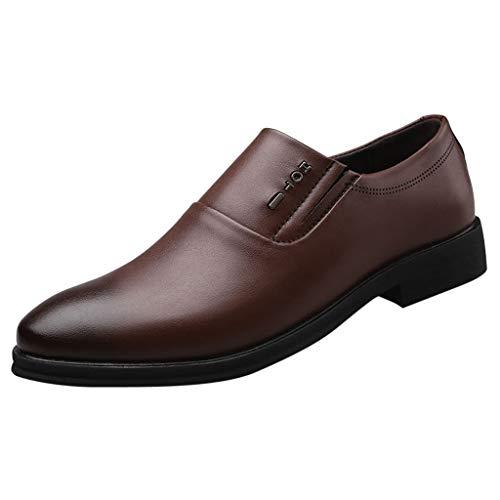 FNKDOR Schuhe Herren Runder Kopf Geschäft Lederschuhe Slip-on Berufsschuhe Freizeit Kleid Schuhe Side elastisches Band Faule Schuhe Braun 43 EU