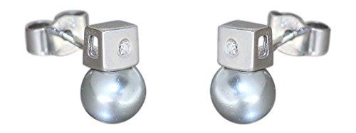 hobra de oro blanco pendientes 585con brillantes y perlas grises Conector oro blanco perla