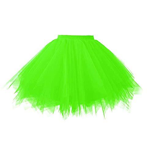 Smile Fish Women's 80s Tutu Skirts Tulle Costume Halloween Neon Green,XXL