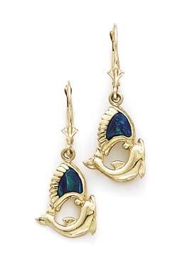 14ct Gold Opal Delfin Leverback Ohrringe–JewelryWeb