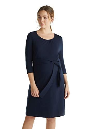 Esprit Material-Mix-Kleid mit Stillfunktion Hauch softe Jersey-Kleid Dress Mix Nursing - Freizeitkleid U1984261 (Night Blue (486), L)
