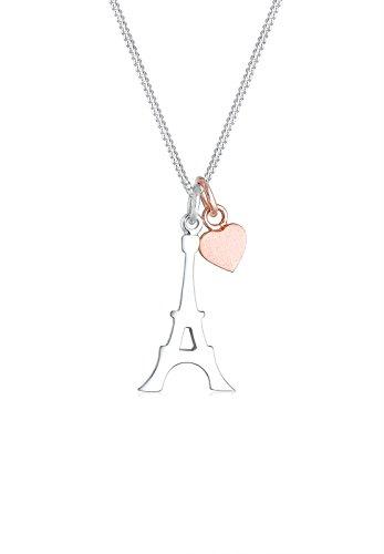 Elli Halskette Damen Eiffelturm Herz in 925 Sterling Silber Rosé vergoldet
