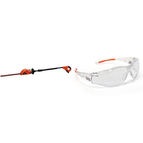 BLACK+DECKER 20V MAX Cordless Pole Hedge Trimmer, 18-Inch with Safety Eyewear, Lightweight, Clear Lens (LPHT120 & BD250-1C)