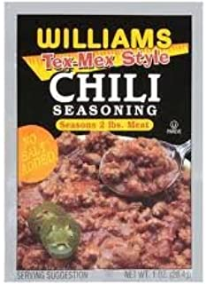 Williams Tex-Mex Style Chili Seasoning Mix 1oz Packets (Pack of 12) No Salt (Seasons 2 Pounds of Meat)