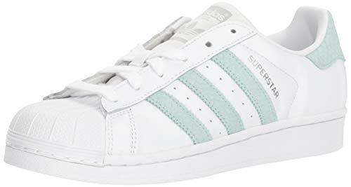 adidas Originals Damen Superstar Turnschuh, Weiß/Eschengrün/Silber-Metallic, 40 EU