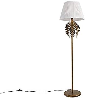 QAZQA Lampada da terra con paralume botanica - rustico - Acciaio,Tessuto - Bianco - Oblungo Max. 1 x 60 Watt