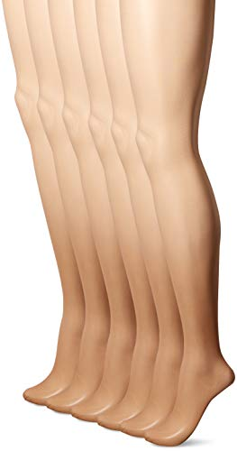 Hanes Silk Reflections Women's Control Top Pantyhose 6-Pack, barely there, AB