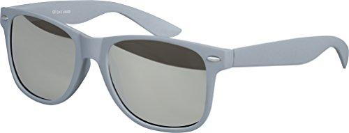 Balinco Hochwertige Nerd Sonnenbrille Rubber im Retro Stil Vintage Unisex Brille mit Federscharnier - 96 verschiedene Farben/Modelle wählbar (Grau - Silber verspiegelt)