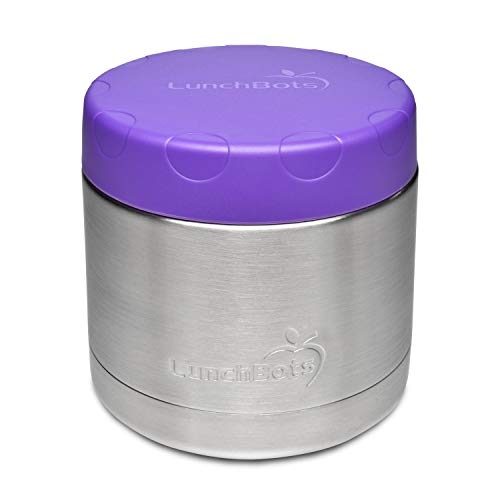 LunchBots 16oz Thermal Stainless Steel Wide Mouth Thermos - Insulated Container with Lid Keeps Food Hot or Cold for Hours - Leak-Proof Portable Thermal Food Jar is Ideal for Soup - 16 ounce - Purple