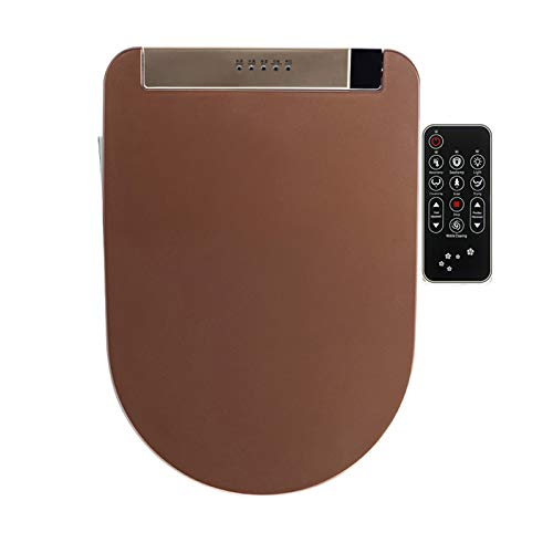 Asiento de inodoro inteligente, control remoto eléctrico alargado Auto Spa SPA SMARTE CALEZA DE SECURIDAD WC TABERA DE BIDET (38cm x 51 cm),Marrón