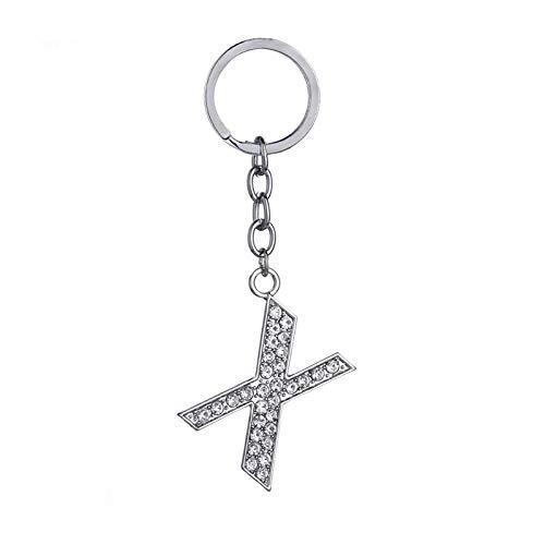 HELUNM Diamond Keychain Crystal Bling Keyring Initial Letters Shiny Keyrings (X)