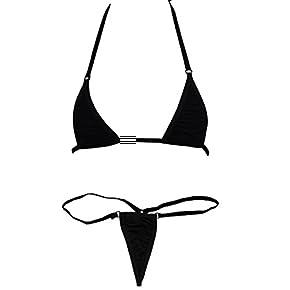 iEFiEL Women Micro G-String Bikini 2 Piece Sliding Top Thong Small Bra