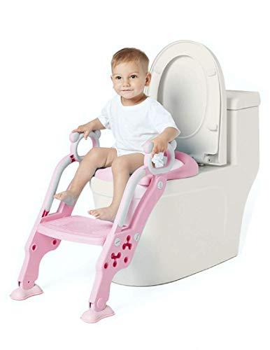 Toilettensitz Kinder & Wc Sitz Kinder mit Treppe, Faltbar, Gepolstert | Toilettentrainer - Töpfchentrainer mit Höhenverstellbar Plattform | Für Mädchen Pink,Niimo Töpfchen Sitz für Toiletten 38-42cm