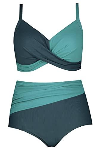 Ulla Popken Damen Farbtwist Bikini-Set, helles azurblau, 54