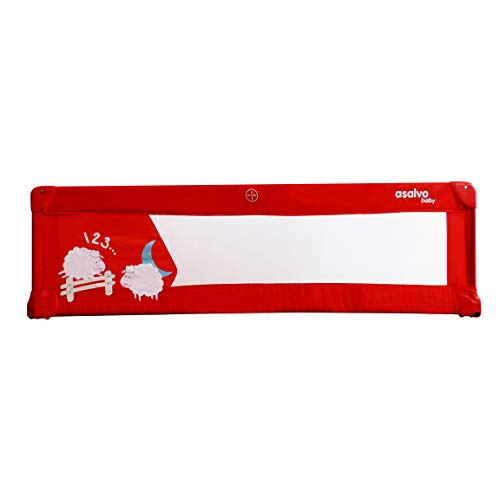 Asalvo - Barrera de cama 150cm Ovejas, Color Rojo