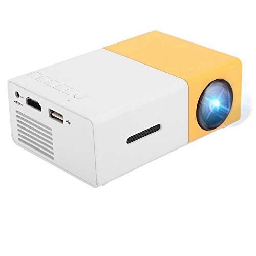 Ccylez Mini Beamer, HD HDMI AV USB TF Multimedia Player 600LM 3,5 mm Audio tragbarer Overheadprojektor,Unterstützung für anwesende Kinder, Partyspiel, Unterhaltung im Freien(Weiß Gelb EU)