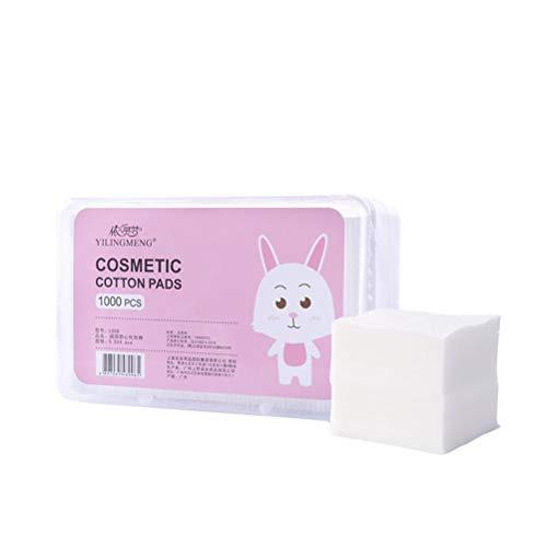 Lurrose Lot de 1000 tampons de maquillage en coton doux avec boîte de rangement pour le démaquillage.