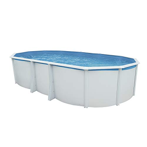 Steinbach Juego de Pared Pool Acero Highline Ovalado, Color Blanco, 640 x 366 x 132 cm, 22300 L, 012622