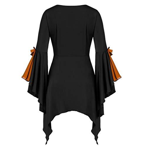 Oberteile Damen Fledermaus Vintage Bluse mit Rüschen Ärmel Mittelalter Kostüme Damen Blusentops Halloween Kostüm Damen Sexy Vampir Gothic Bekleidung