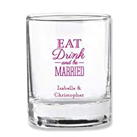 """結婚式 """"Eat Drink And Be Married"""" 2オンス カスタマイズ可 ショートグラス/奉納用ホルダー 36個 パーティーの記念品やゲストへのギフトに最適 ブライダルシャワー/結婚式/記念日パーティーに ピンク"""