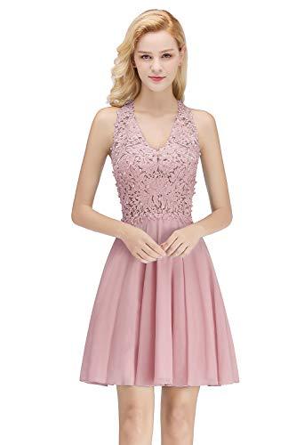 MisShow Damen elegant A Linie Rueckfrei Chiffon Abendkleid Abiballkleid Kurz Perlenstickerei Ballkleider Rosa 38
